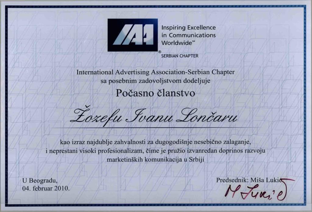IAA - Počasno članstvo-ŽIL